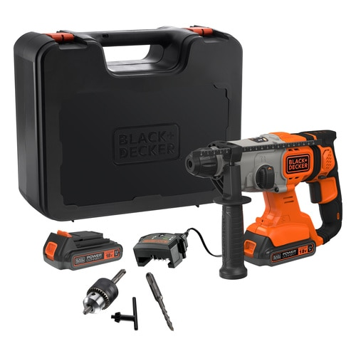 Black and Decker - 18V Cordless 25Ah SDSPlus Hammer Drill with Kit Box - BCD900E2K